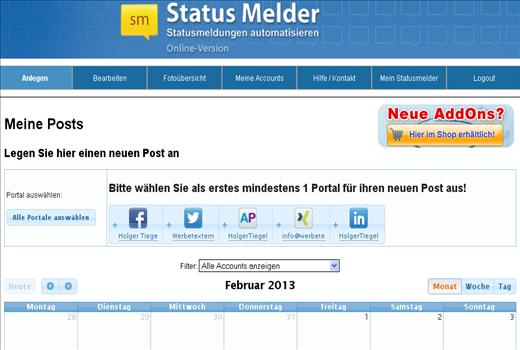 Statusmelder Übersicher Post